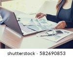 close up of woman hands using...   Shutterstock . vector #582690853