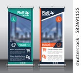 roll up brochure flyer banner... | Shutterstock .eps vector #582691123