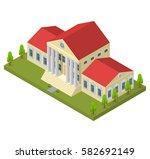 bank building isometric view...   Shutterstock .eps vector #582692149