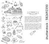 hand drawn doodle cruise... | Shutterstock .eps vector #582692350