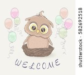 little owl in the nest and... | Shutterstock .eps vector #582692518