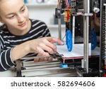 kid with 3d printe. education ... | Shutterstock . vector #582694606