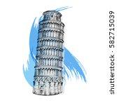 pisa tower sketch vector... | Shutterstock .eps vector #582715039