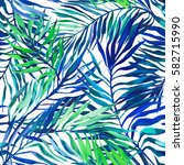 seamless tropical pattern with... | Shutterstock . vector #582715990