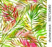 seamless tropical pattern with... | Shutterstock . vector #582716080