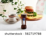 Hamburger With Coffee