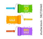 sale labels roller brush set... | Shutterstock . vector #582720460