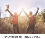 young men women walking on... | Shutterstock . vector #582724468