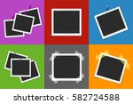 collage of photo frames in... | Shutterstock .eps vector #582724588