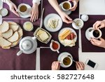 people eat healthy meals with... | Shutterstock . vector #582727648
