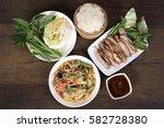 thai food  green papaya salad... | Shutterstock . vector #582728380