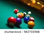 billiard balls in a pool table. | Shutterstock . vector #582733588