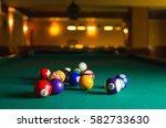 billiard balls in a pool table. | Shutterstock . vector #582733630