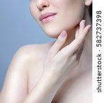 beauty closeup portrait of...   Shutterstock . vector #582737398