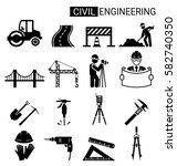 set of civil engineering icon... | Shutterstock .eps vector #582740350