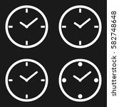 set of white clock circle time... | Shutterstock .eps vector #582748648