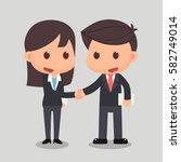 business man is shaking hands... | Shutterstock .eps vector #582749014