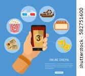 concept online movie  man... | Shutterstock .eps vector #582751600