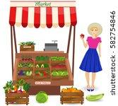 local vegetable stall. fresh... | Shutterstock .eps vector #582754846