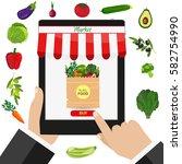 online food shopping ...   Shutterstock .eps vector #582754990