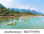 vang vieng  laos   february 17  ... | Shutterstock . vector #582775594