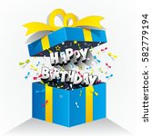 happy birthday text in gift box ... | Shutterstock .eps vector #582779194