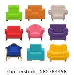 set of different armchairs.... | Shutterstock .eps vector #582784498