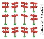 vector set of wooden arrow...   Shutterstock .eps vector #582787678