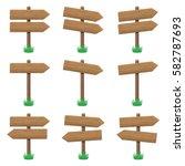vector set of wooden arrow... | Shutterstock .eps vector #582787693