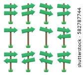 vector set of wooden arrow... | Shutterstock .eps vector #582787744