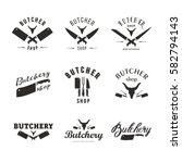 big set of butchery logo... | Shutterstock .eps vector #582794143