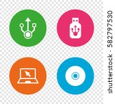 usb flash drive icons. notebook ... | Shutterstock .eps vector #582797530
