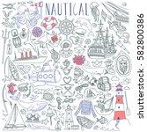 nautical vector drawings... | Shutterstock .eps vector #582800386