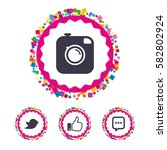 web buttons with confetti... | Shutterstock .eps vector #582802924