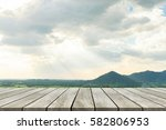 wood old table against... | Shutterstock . vector #582806953