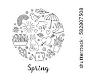 Hand Drawn Outline Spring Item...