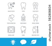 tooth  dental crown and... | Shutterstock .eps vector #582808834