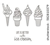 set of hand drawn soft serve... | Shutterstock .eps vector #582810379