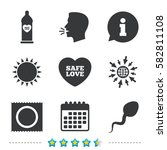 safe sex love icons. condom in... | Shutterstock .eps vector #582811108