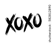 phrase xoxo  hugs and kisses ... | Shutterstock . vector #582812890