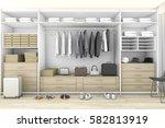 3d rendering minimal wood walk... | Shutterstock . vector #582813919
