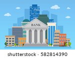 bank building on the urban... | Shutterstock .eps vector #582814390
