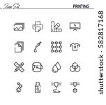 printing flat icon set.... | Shutterstock .eps vector #582817168