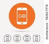 smartphone game icon. go symbol.... | Shutterstock .eps vector #582817978