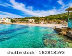 spain majorca  beautiful beach... | Shutterstock . vector #582818593