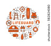 lifeguard flat outline icons... | Shutterstock .eps vector #582824080