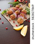 kofta skewers  meatballs and... | Shutterstock . vector #582827869