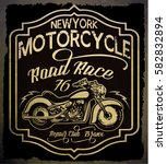 vintage motorcycle. hand drawn... | Shutterstock .eps vector #582832894