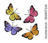 stylized monarch butterflies... | Shutterstock .eps vector #582837166