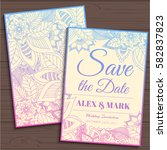 wedding invitation card suite... | Shutterstock .eps vector #582837823